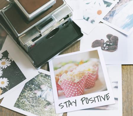 Blijf Positieve Lifestyle Instant Film Stockfoto