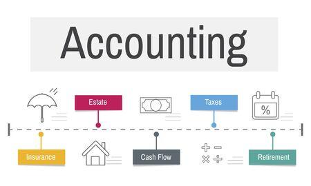 Icone economiche di contabilità finanziaria Archivio Fotografico - 80392348