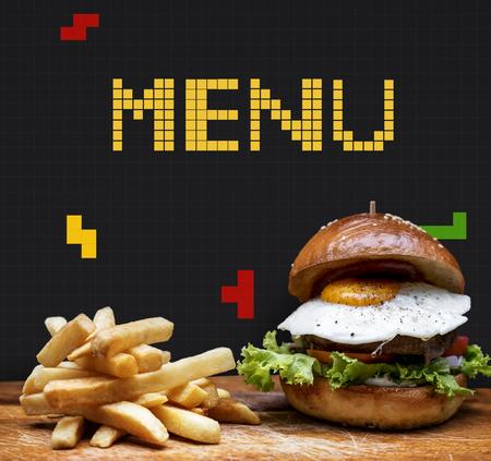 Burger and fries with 8 bit illustration of tasty menu Stock fotó