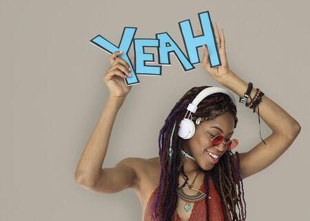 African Descent Female Yeah Headphones Stok Fotoğraf