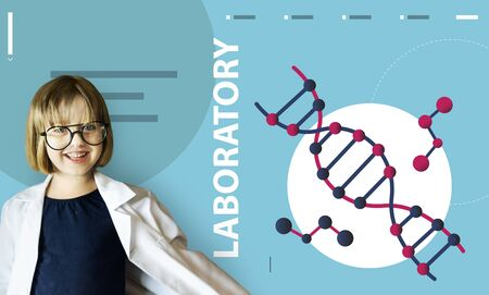 pretending: Girl wearing a lab coat dna strand graphic