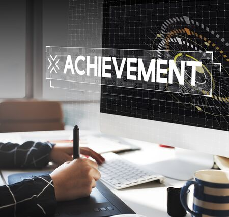 Graphic designer working and achievement word popup