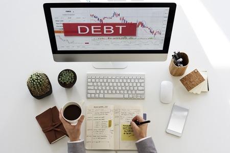 債務損失不況株式市場の取引所 写真素材