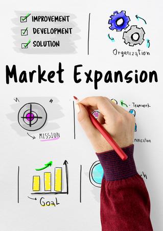 Nieuwe groei van de groei van de zakelijke markt Stockfoto