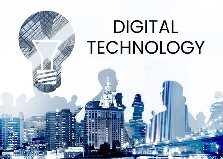 People with graphic of creative ideas digital technology light bulb Stock fotó