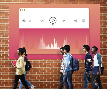 Music Player Play Song Concept Stock Photo