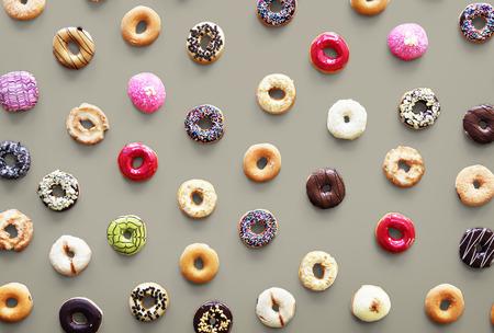 Varities of donut flavor shot in aerial view Stock fotó - 80376948
