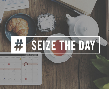 Seize the day Word Graphic with Breakfast Photo