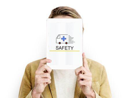carretilla de mano: Emergency Ambulance Vehicle Healthcare Icon Word Foto de archivo