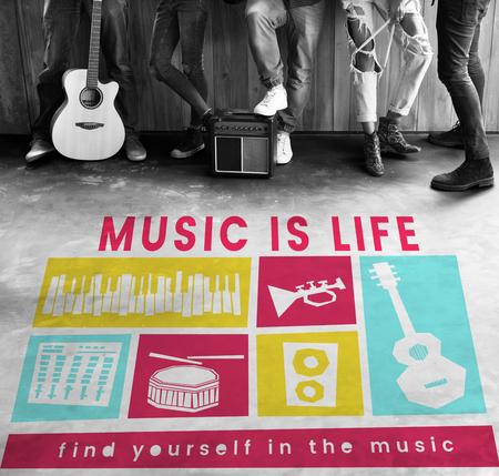logo music: Network graphic overlay banner on floor