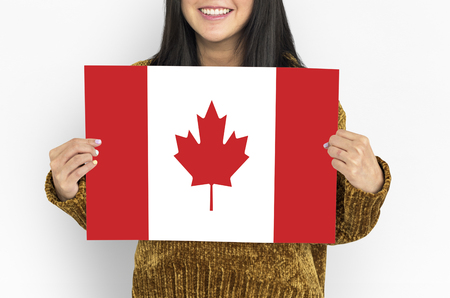 Woman Hands Hold Canada Flag Patriotism Stock Photo
