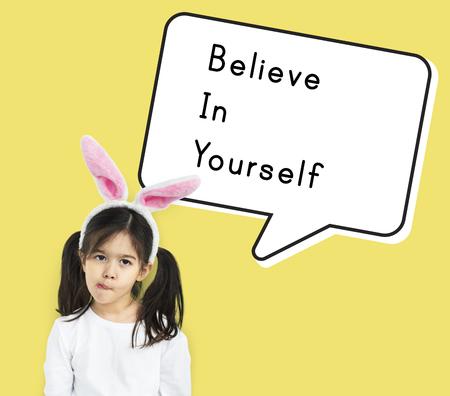 自信を持って自分を信じる強さを奨励します。 写真素材