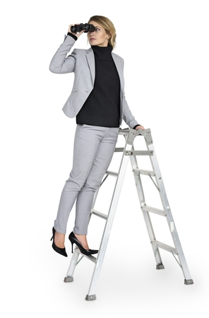 Caucasian Lady Binoculars Ladder 版權商用圖片
