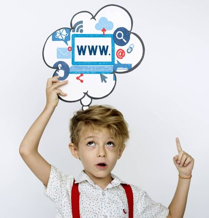 Boy holding network graphic overlay banner