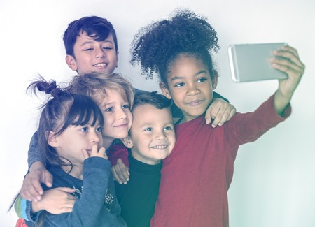 Group Children Taking Photo Happiness Adorable Stock Photo