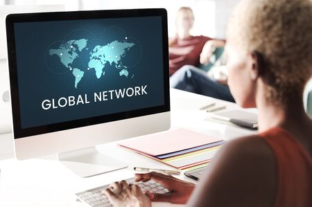 Global network communication technology graphic Stock Photo