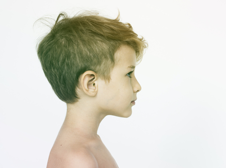 Kid Topless Natural Race Studio Shoot Banque d'images - 80378853