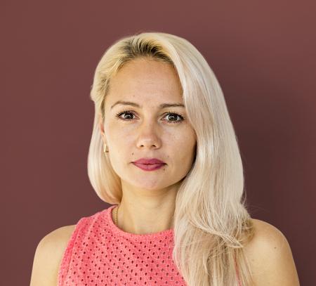 Adult Woman Serene Face Expression Studio Portrait