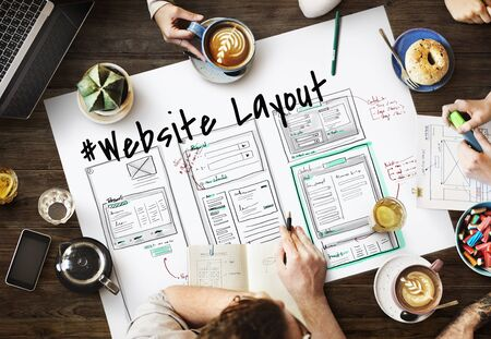 Website development layout sketch drawing Stok Fotoğraf