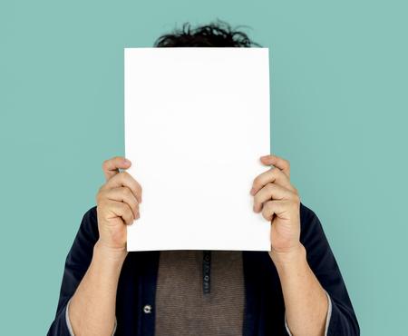 Adult Man Face Coverd Paper Portrait Copy Space Stock Photo - 80379276