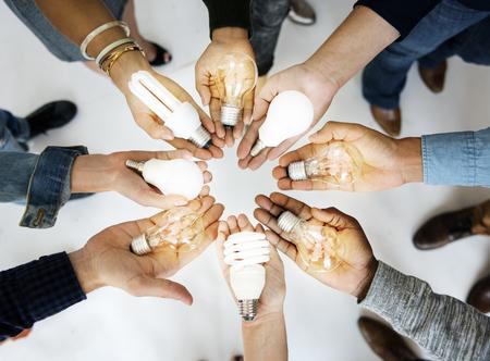 People Hands Palms Show Light Bulbs Ideas