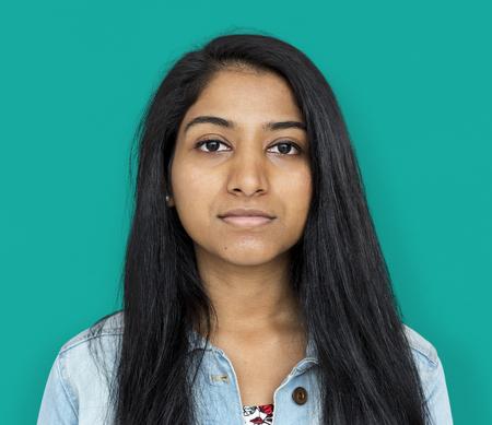 若い女性の深刻なスタジオ ポートレート 写真素材