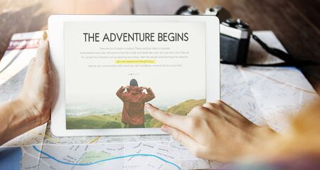 roaming: Travel Journey Explorer Adventure Tour Word Stock Photo
