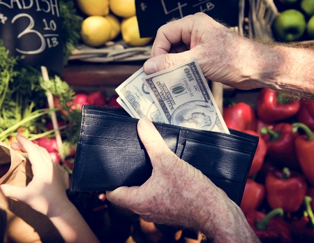 Human hand holding the money and spending goods Stok Fotoğraf - 80494293