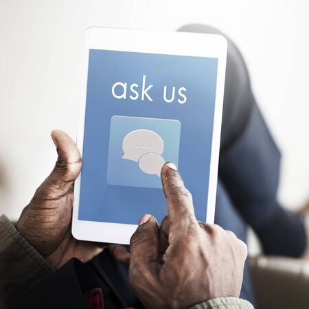 queries: Ask Us Assistance Contact Consult Concern Stock Photo