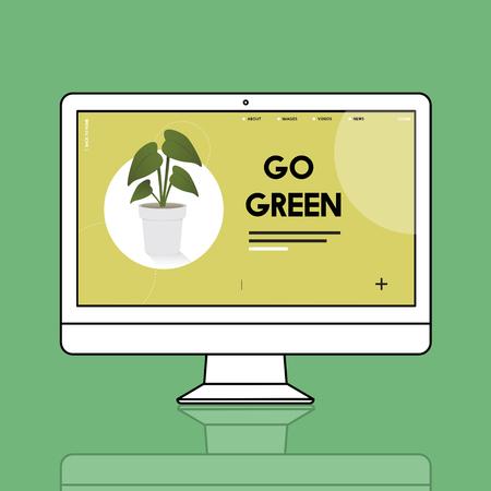 Computer with environmental graphic screen Stok Fotoğraf