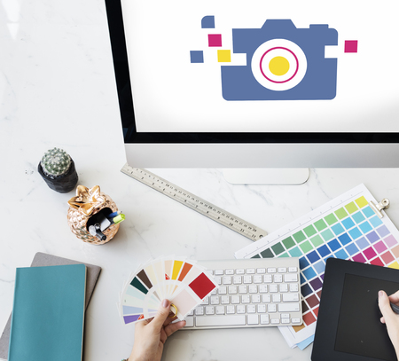 snapshots: Camera is a device for capture a memory. Stock Photo