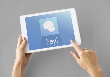 Hands Tablet Chat Conversation Bubble Graphic Stock Photo