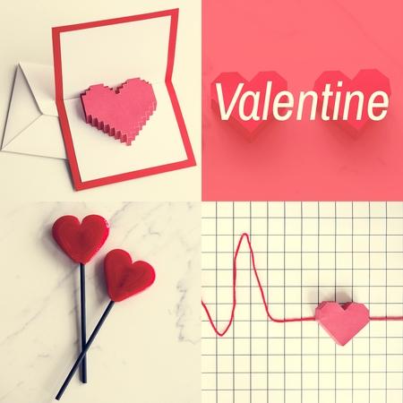 심장 아트웍 사랑 스튜디오 콜라주와 발렌타인 단어 스톡 콘텐츠