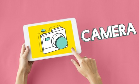 wireless connection: Digital camera illustration photography graphic Stock Photo
