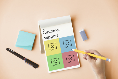 customer records: Rating Customer Survey Support Emotion Icons Stock Photo