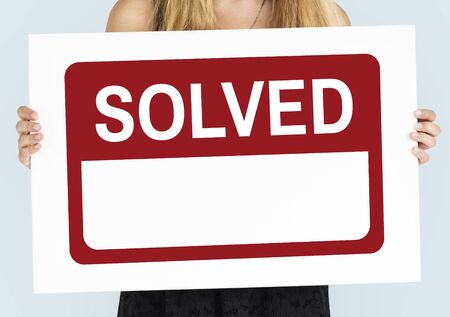 Solved Solution Banner Graphic Word Stok Fotoğraf - 80623180