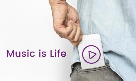 logo music: Hand holding network graphic overlay banner from trouser pocket