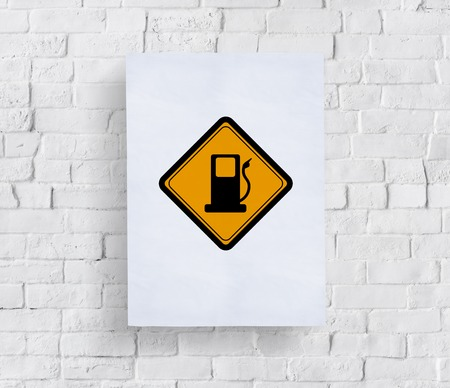 Showing Gas Station Fuel Sign
