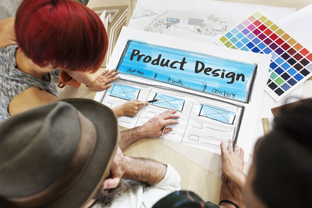 website words: Product Design Drawing Website Graphic Stock Photo