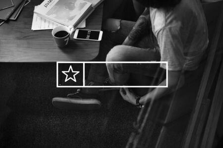 logo music: Rectangular logo label with star