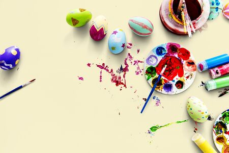 An easter colorful eggs painted