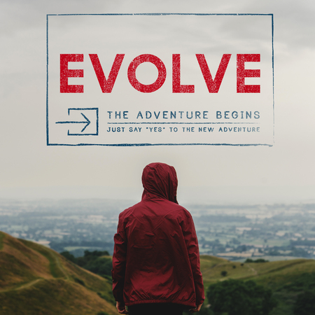 Evolve overlay word young people