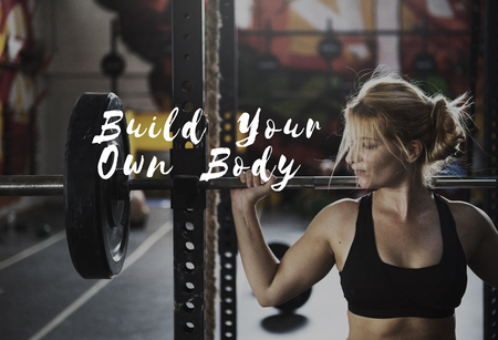 build up: Build Your Own Body Strength Fitness Exercise Get FIt Stock Photo