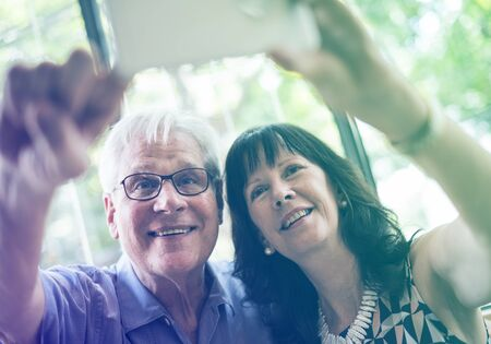 capture the moment: Photo Gradient Style with Mature couple taking selfie together
