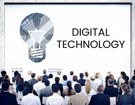 fresh idea: People with graphic of creative ideas digital technology light bulb Stock Photo