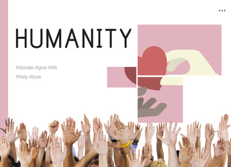 goodness: Human hands with charity donations campaign illustration