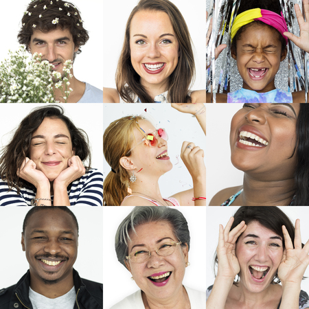 children party: Collage of people smiling cheerful happiness face expression Stock Photo