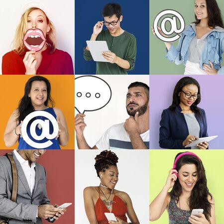Set of Diverse People Communication Studio Collage Stock Photo