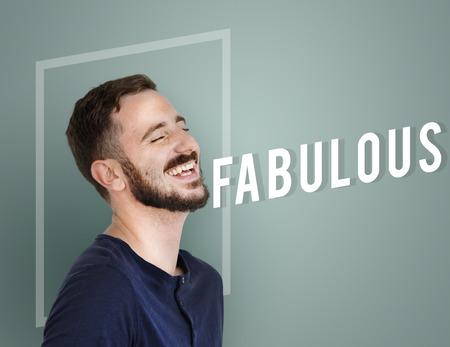 Portret van een jonge man met Fabulous tekst en grafische overlay Stockfoto
