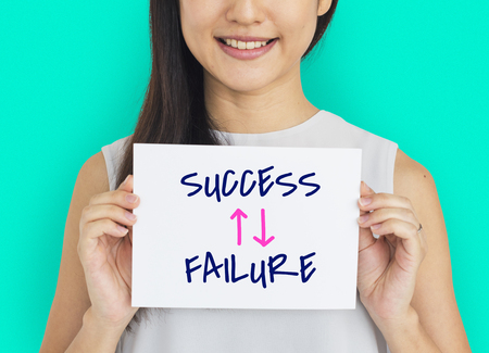 versus: Success Failure Arrow Up Down Word